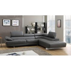 Milano Grey Leather Corner Sofa Right/Hand