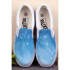 Hand-Painted Blue Sky Platform Sneakers For Women Painted Canvas Shoes, Painted Vans, Custom Painted Shoes, Painted Sneakers, Hand Painted, Painted Clothes, Blue Sneakers, Blue Shoes, Shoes Sneakers
