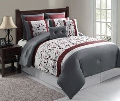 Botanical Print luxury gray & maroon 8pc comforter set (King Size) by Bed In A Bag, http://www.amazon.com/dp/B00DCF2A58/ref=cm_sw_r_pi_dp_GHeasb1GA2VZ8