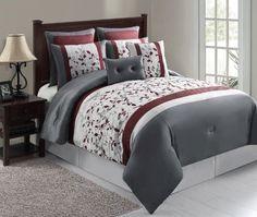 Botanical Print luxury gray & maroon 8pc comforter set (King Size) by Bed In A Bag, http://www.amazon.com/dp/B00DCF2A58/ref=cm_sw_r_pi_dp_GHeasb1GA2VZ8