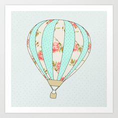 Let's fly away together - Hot air balloon Art Print by Allyson Johnson - $20.00