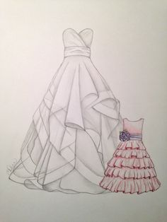 This would make the perfect wedding gift!!! Custom Wedding Gown Flower Girl Dress Sketch on Etsy, $34.95