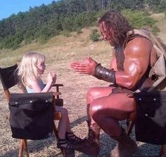 """Dwayne """"The Rock"""" Johnson plays patty cake on the set of """"Hercules"""".  Way to my heart . . . a big strong softy!!!"""