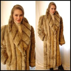 Vintage faux fur mink coat, honey brown, full length, vegan fur ...