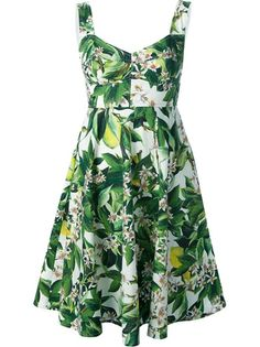 dress . stretch cotton .  Green cotton blend floral dress from Dolce & Gabbana featuring a sweetheart neckline, a concealed rear zip fastening and an a-line shape skirt.