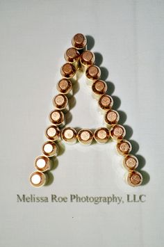 individual letters of the alphabet in pictures from 10mm ammo - letter A Great Idea for #FathersDay #Ammo #AlphabetArt Man cave decor #craftshout www.melissaroephotography.com #Dad #GunEnthusiast #Hunters #Sportsmen #NRA #BulletDecor