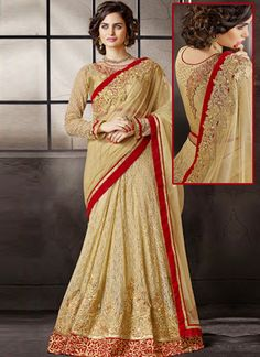Cream Jequard Embroidered Work Wedding Indian Saree
