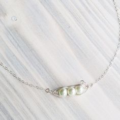 Pea Pod Necklace with Birthstone Pearls  by DesignedToShineAcc