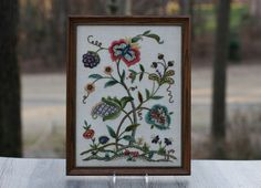 Vintage Framed Jacobean Crewel Wall Hanging / by theretrobeehive