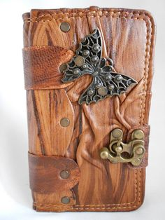 Samsung Galaxy Note 3 Leather  Case / Cover / handmade leatner case With  Butterfly Emblem & by Smyrnacrafts on Etsy