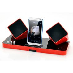 Wireless Speaker Dock for iPhone, iPad and iPod featuring 2x wireless speakers with built in battery, independent volume control and 3.5mm Audio IN cable. From shopswagstore.com