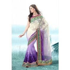 Off White with Shaded Violet color Net saree