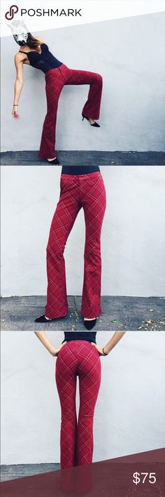 Betsey Johnson plaid pants! Betsey Johnson one of a kind pants!! These things are just oh so amazing. Size P but I am usually a 24/25 and am 5'9 and they fit sooo perfectly. Have a bell bottom and semi high rise with a beautiful plaid pattern with gold sh