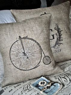 Burlap Pillow Slipthe Bicycle by JolieMarche on Etsy Burlap Pillows, Sewing Pillows, Decorative Pillows, Throw Pillows, Burlap Crafts, Pillow Fight, Vintage Pillows, Cool House Designs, Soft Furnishings