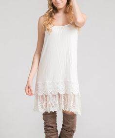 Another great find on #zulily! Ivory Layered Lace-Trim Sleeveless Tunic #zulilyfinds