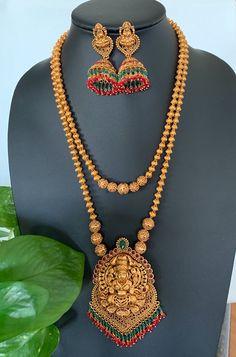 Antique matte gold finish Lakshmi haram/ Goddess Lakshmi set with Lakshmi Jhumkas /South Indian Jewelry /Indian Wedding Jewelry/ Temple set - antique - Indian Jewelry Sets, Indian Wedding Jewelry, Wedding Jewelry Sets, Indian Gold Jewellery, Gold Bridal Jewellery, Indian Weddings, Romantic Weddings, Gold Earrings Designs, Gold Jewellery Design