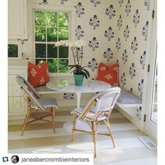 From #janeabercrombienteriors using Les Indiennes wallpaper #les_indiennes
