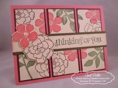 SU! Secret Garden and Curly Cute (sentiment) stamp sets; colors are Regal Rose, Bravo Burgundy and Always Artichoke - Andi Potler