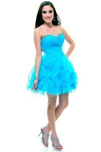Strapless Rouched Sweetheart Sparkle Ruffles Mini Length Plus Sizes Prom Dress | eBay