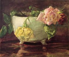 """Roses in Old Chinese Bowl,"" John La Farge, ca. 1880, watercolor and gouache on paper, 9 x 10.88"", private collection."