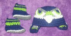 Seahawk beanie n booties.   Custom order one today!