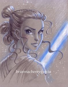 Toned Paper Rey from Star Wars: The Force Awakens (VII) Print by Brianna Cherry Garcia on Etsy.