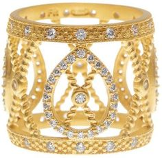 Freida Rothman 14K Gold Plated Sterling Silver Open CZ Pave Filigree Ring - Size 8