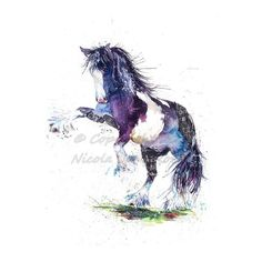 Horse watercolour equine art print by by NicolaJaneRowlesART Watercolor Horse, Horse Drawings, Equine Art, Horse Art, Painted Signs, A3, Face Book, Horses, Art Prints