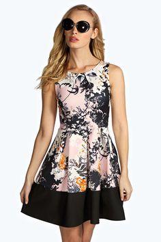 Anais Floral Box Pleat Skater Dress