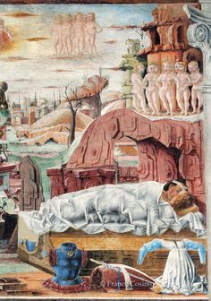 Mars and Venus cheats on Vulcan (her husband) in the fresco of September, Salone dei Mesi, Palazzo Schifanoia. Palazzo, Venus And Mars, Roman Gods, Renaissance Art, 15th Century, Illuminated Manuscript, Ancient Art, Art Techniques, Art Boards