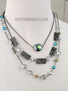 Boho Embossed Layered Necklace | A mixed media jewelry tutorial at www.happyhourprojects.com
