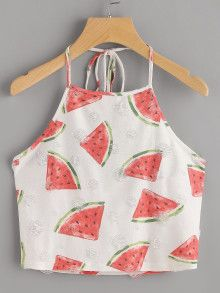 To find out about the Watermelon Print Frayed Dot Detail Halter Top at SHEIN, part of our latest Tank Tops & Camis ready to shop online today! Cute Summer Outfits, Cool Outfits, Casual Outfits, Halter Tops, Halter Neck, Teen Fashion Outfits, Girl Fashion, Womens Fashion, Ootd Fashion