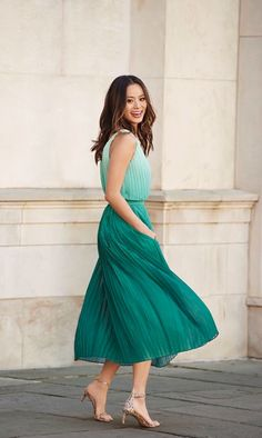 6a594909756e Take a twirl in our pleated green ombre midi length dress. The twist strap  detail makes this flattering go to summer wardrobe essential the perfect  feminine ...