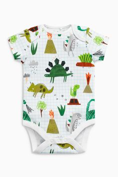 Buy Green/White Dinosaur Short Sleeve Bodysuits Three Pack (0mths-2yrs) from the Next UK online shop