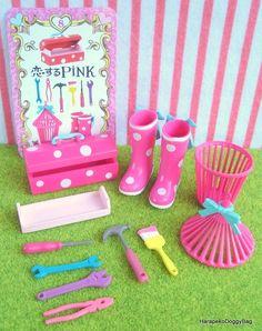 Re-ment / Rement : Japanese Dollhouse Toys : Flirty Pink #8 - Miniature Pink Garden Boots & DIY Tool Box / Hammer / Screwdrive
