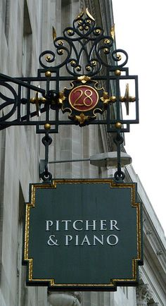 Pitcher & Piano, London (Humm & Bremser would look MUCH better! Pitcher And Piano, Blade Sign, Sculpture Metal, Pub Signs, Signage Design, Store Signs, Lanterns, London England, Photos