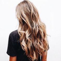 Healthy highlighted hair #waves #hair #hairstyle #haircoloring