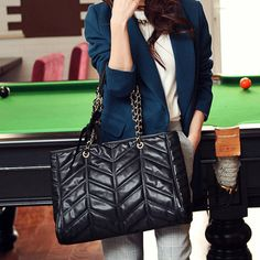 Black Plain Chain Handbag Shoulder Bag, #Wendybox