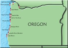 Oregon Map of Lighthouses