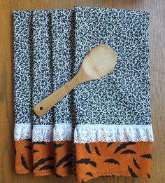 4 Victorian Halloween Dish Towels Tea Towels by juliegalbraith