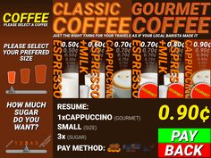 ui - screen 2 design for coffee automat (used for tuch screen)
