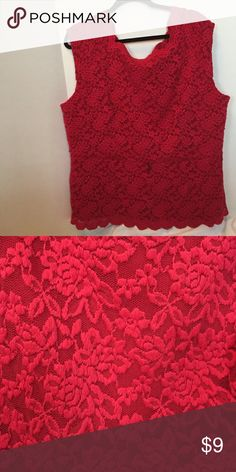 Perfect for Valentines Day Red lace shell top with scalloped neck and hem. There are small loops to add a belt or ribbon if wanted. Worn a few times. Dress Barn Tops