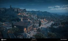 Here is some of the few areas I was responsible for making the LEVEL ART in the city of Athens, attika province of Ancient Greece. Very challenging city due to the fact that it is the biggest city of the games and the density of assets was the largest. Assassins Creed Black Flag, Assassins Creed Odyssey, Fantasy Art Landscapes, Fantasy Landscape, Fantasy City, Dark Fantasy Art, Castle Drawing, Black Castle, Ancient Buildings