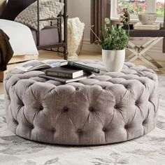 TRIBECCA HOME Knightsbridge Round Tufted Cocktail Ottoman with Casters