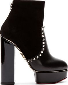 Charlotte Olympia Black Suede & Leather Studded Platform Valerie Boots