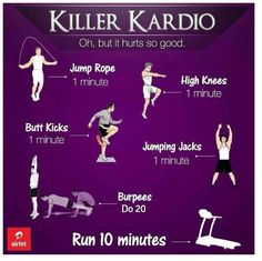 This showing different cardio workouts with the duration of it.