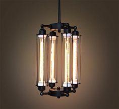 tube cage edison bulb chandelier 4 lights lobby by gopioneers - Edison Bulb Pendant