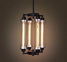 Tube Cage Edison Bulb Chandelier 4 lights Lobby by GoPioneers