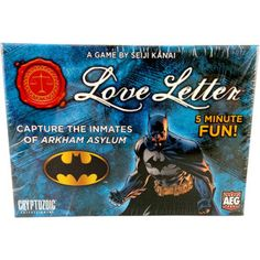 Take Back the Streets of Gotham City! The most notorious villains in Gotham City have escaped Arkham Asylum and it's up to the Dark Knight to round them up and return them to their padded cells. Featuring new rules that puts you in the cowl of the Dark Knight, players in Love Letter: Batman Edition earn Batman Tokens by eliminating opponents and capturing the most dangerous criminals in Gotham City.[MORE]