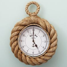 Add a nautical element to time keeping with our Rope Wall Clock. Varied widths of rope add interest and a unique quality to this clock. Time is shown in both numeric, military and minutes. Salty Dog Clock Company and Anchor symbol. Nautical Nursery, Nautical Home, Nautical Design, Coastal Style, Coastal Decor, Beach House Decor, Diy Home Decor, Rope Decor, Rope Crafts